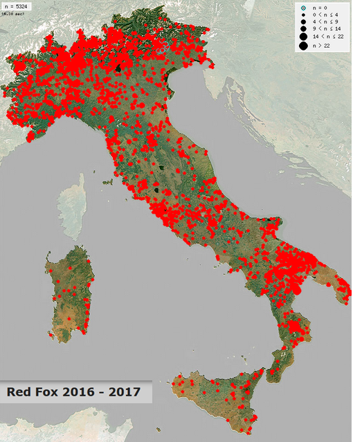 Click map for real time distribution maps of mammals in Italy.