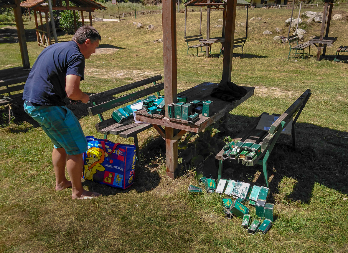 Preparing live traps for mammal survey in Macedonia (Photo: Nedko Nedyalkov)