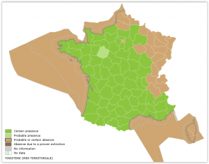 Distribution of water vole in France_INPN