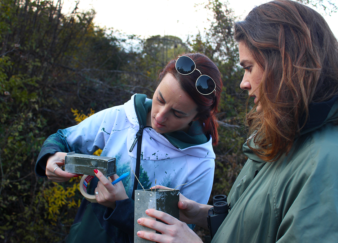 Inspecting live traps with Belma Šestović (Photo: Wildlife Montenegro)